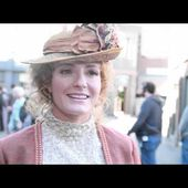 On set of Murdoch Mysteries with Helene Joy