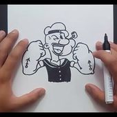 Como dibujar a Popeye paso a paso - Popeye El Marino | How to draw Popeye - Popeye the Sailor Man