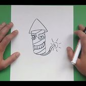 Como dibujar un cohete paso a paso 4 | How to draw a rocket 4