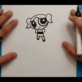 Como dibujar a Burbuja paso a paso - Las Supernenas | How to draw Bubbles - The Powerpuff Girls
