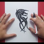 Como dibujar un dragon tribal paso a paso 4 | How to draw a tribal dragon 4