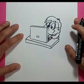 Como dibujar a un niño con su ordenador paso a paso | How to draw a boy with his computer