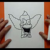 Como dibujar a Krusty paso a paso - Los Simpsons | How to draw Krusty - The Simpsons