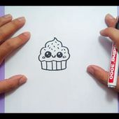 Como dibujar un cupcake kawaii paso a paso | How to draw a kawaii cupcake