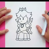 Como dibujar a la Princesa Peach paso a paso - Videojuegos Mario | How to draw Princess Peach