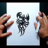 Como dibujar un escorpion tribal paso a paso 3 | How to draw a tribal scorpion 3