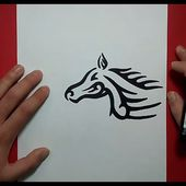 Como dibujar un caballo tribal paso a paso | How to draw a tribal horse