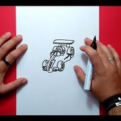 Como dibujar un coche de carreras paso a paso | How to draw a race car