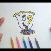 Como dibujar a Chip paso a paso - La Bella y la Bestia | How to draw Chip - Beauty and the Beast