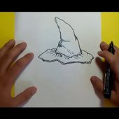 Como dibujar un sombrero de bruja paso a paso | How to draw a witch hat