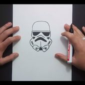 Como dibujar un casco de soldado imperial paso a paso - Star Wars | How to draw a stormtrooper