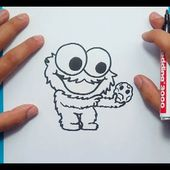 Como dibujar al Monstruo de las galletas paso a paso 3 - Barrios Sesamo | How to draw the Cookie Mon