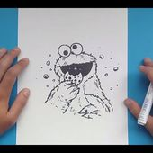 Como dibujar al Monstruo de las galletas paso a paso 2 - Barrios Sesamo | How to draw the Cookie Mon