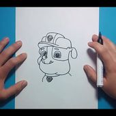 Como dibujar a Rubble paso a paso - La Patrulla Canina | How to draw Rubble - Canine Patrol