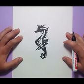 Como dibujar un caballito de mar tribal paso a paso | How to draw a sea horse tribal