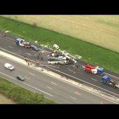 Images de l'hélicoptère BFMTV de l'accident sur l'A13