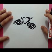 Como dibujar un corazon tribal con alas paso a paso | How to draw a tribal heart with wings