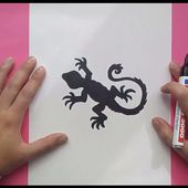 Como dibujar un lagarto paso a paso | How to draw a lizard