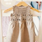 Free tutorial-Granny Square crochet/fabric Dress - Mon Petit Violon