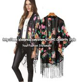 CT77 Celebrity Style Women Vintage Loose Fit Oriental Floral Print Kimono Wrap Tassel Jacket Blazer Coat Blouse Free Shipping-in Blouses & Shirts from Apparel & Accessories on Aliexpress.com