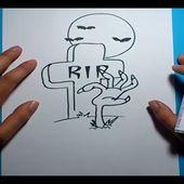 Como dibujar una lapida paso a paso 3 | How to draw a tombstone 3