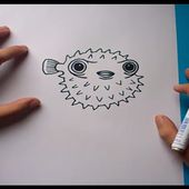 Como dibujar un pez globo paso a paso | How to draw a blowfish