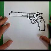 Como dibujar un revolver paso a paso | How to draw a gun