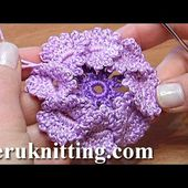 Crochet Flat Center Flower With Picots Tutorial 15