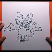 Como dibujar un gato terrorifico paso a paso | How to draw a scary cat