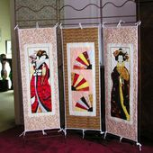 Un paravent aux couleurs du Japon / A triptych from Japan - Quilting, Patchwork &amp&#x3B; Appliqué