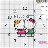 Grille point de croix partagée : Pendule Hello Kitty