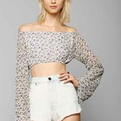 For Love & Lemons La Flor Cropped Top - Urban Outfitters