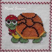 Plaid Tortues brodées : Tortue Franklin - Chez Mamigoz