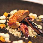 Foie gras laqué au balsam de coing - semoule d'amandes - Philou - Un Cuisinier chez Vous