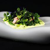Fricassée de légumes verts au lapsang souchong - Gravlax poêlé - Philou - Un Cuisinier chez Vous