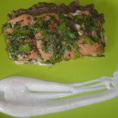 SAUMON EN CROUTE D' HERBE ET CRÈME DE LENTILLE - la cuisine de laurenceel