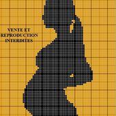 Grille gratuite point de croix : Femme enceinte silhouette - Le blog de Isabelle