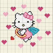Grille gratuite point de croix : Hello Kitty Ange de l'amour - Le blog de Isabelle
