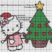 Grille gratuite point de croix : Hello Kitty fait son sapin de Noel - Le blog de Isabelle