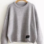 Pull col rond avec patch - gris clair -French Romwe