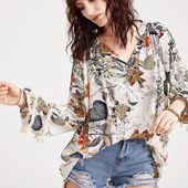 T-shirt imprimé tropical V-French Romwe