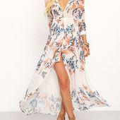 Robe longue en mousseline motif fleuri -French SheIn(Sheinside)