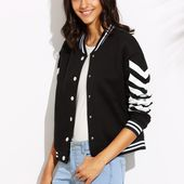 Veste de basket-ball imprimé chevron - noir-French SheIn(Sheinside)