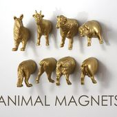 Gold Farm Animal Magnets for Housewarming - 8 piece set - Gold Sheep Dog Pig Goat (Ram)