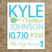 Birth Announcement Wall Art - DIY Printable File - Turtle and Seahorse - Baby Room Wall Art - Nursery Art - Nusery Decor