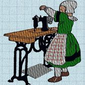 broderie machine : Bécassine fait de la couture - edit : le lien !!! - cathy73