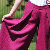 Lniane spódnico-spodnie
