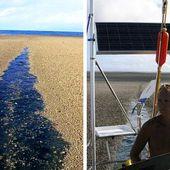 En mer, ils croisent des pierres flottantes... et assistent à la naissance d'une île volcanique !