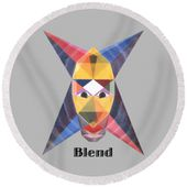 Blend Text Round Beach Towel for Sale by Michael Bellon