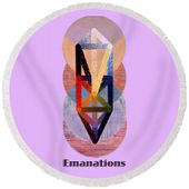 Emanations Text Round Beach Towel for Sale by Michael Bellon